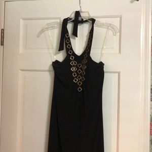 Black maxi dress with neck detail